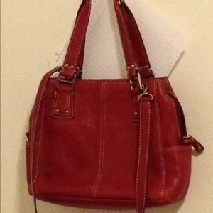 "Fossil Red leather handbag ""used"""